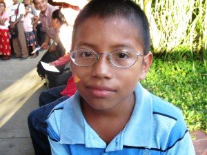 A young boy gets his first glasses -- and he needed them!